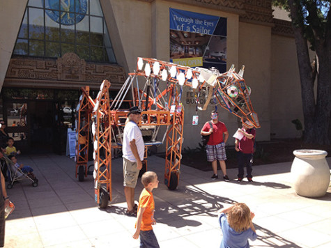 Robo Expo featured Russell, an 18-foot giraffe, in hopes of engaging children.