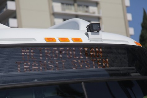 The Opticom sits on top of the bus and communicates with the traffic lights to turn them green for the bus.