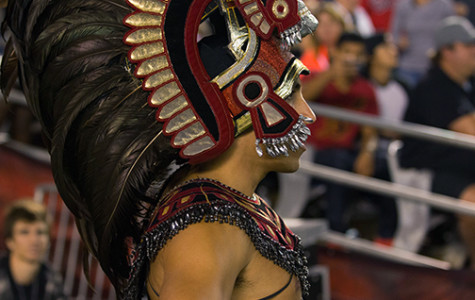 A.S. researches the Aztec Warrior mascot