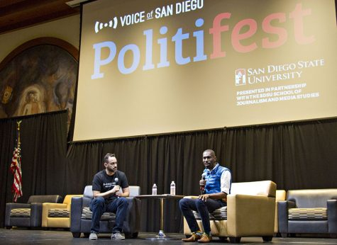 Civil rights activist DeRay Mckesson discusses issues of police violence with Voice of San Diego CEO and Editor-in-Chief Scott Lewis.