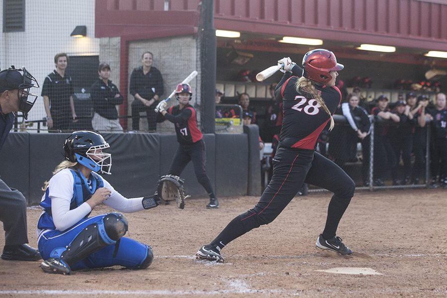 Senior+catcher+Frankie+Orlando+following+through+on+her+swing+after+a+hit+against+UCLA.